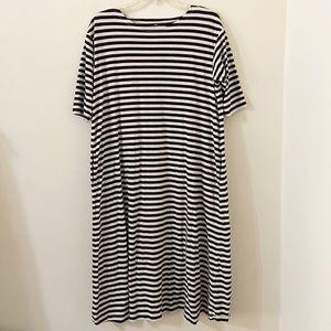 Striped T-Shirt Dress w/ Pockets Soft Oversized